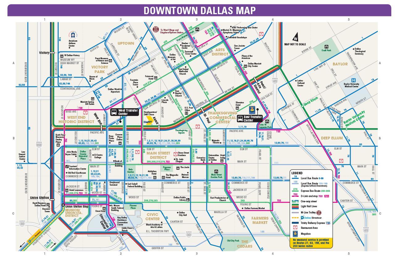 Dallas Autobús Mapa Dallas Rutas De Autobuses Mapa Texas USA - Mapa de texas usa
