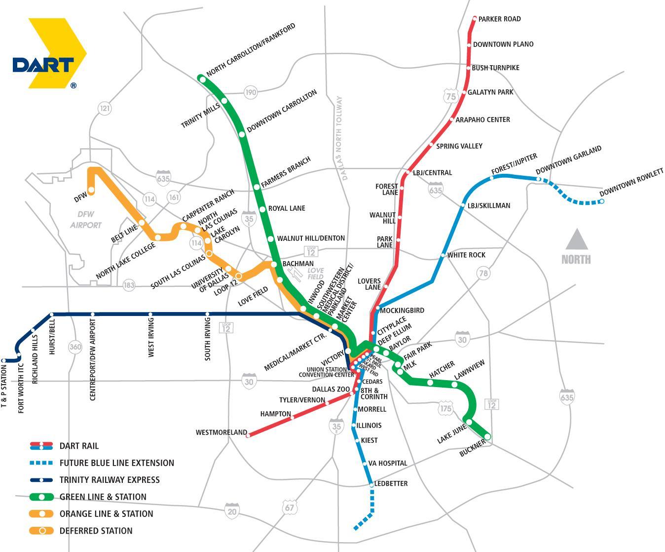 mapa de transito Dallas tránsito mapa   Dallas zona de tránsito rápido de mapa  mapa de transito